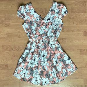 Glam & Fame Coral & White Spring Floral Dress